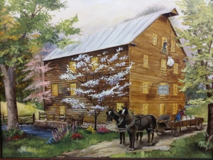 painting of mill in spring
